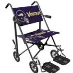 Wheelchair with the Vikings logo on the seat and back