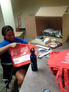 Jennifer A. stuffing St. Fair Bags for MSCOD