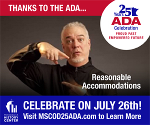 Man demonstrating sign language. Thanks to the ADA... Reasonable Accommodations. Celebrate on July 26th! For more information, please read the first section of this newsletter.