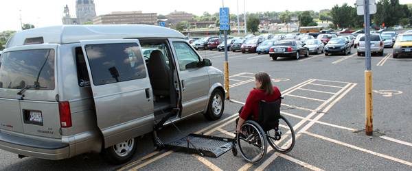Accessible van in a disability parking space