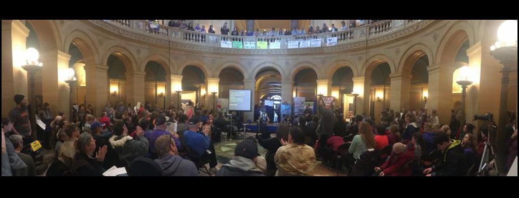 People with disabilities gathered at The Rotunda of the MN State Capitol