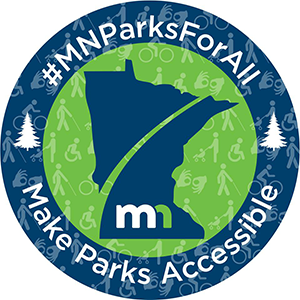 "Button that reads: ""MN Parks For All, Make Parks Accessible"""