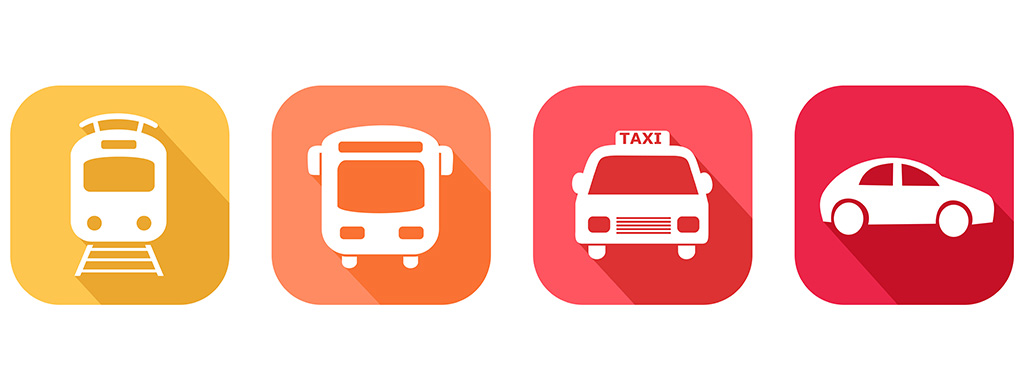 Icons of various modes of transportation