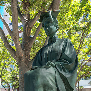 statue of Helen Keller at graduation