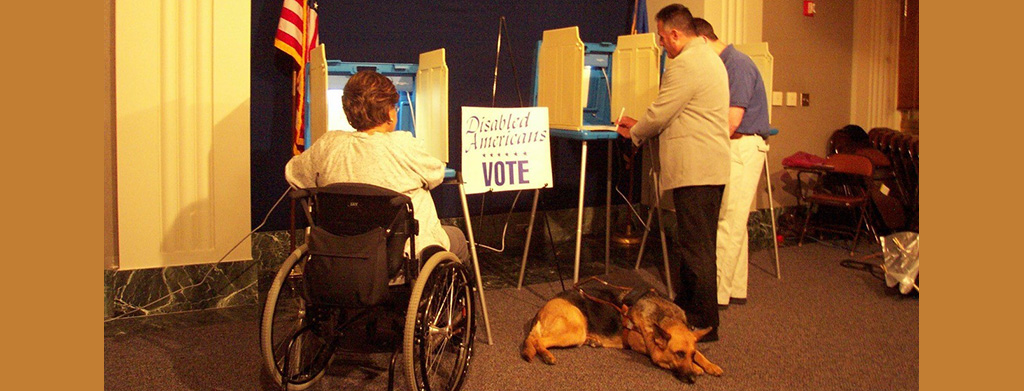 voter with disability at voting booth