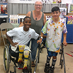 Visitors with disabilities at the MCD booth
