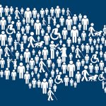 United States filled with disability symbols