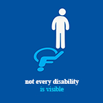 A figure casting a shadow in the shape of the international symbol of disability. The text reads: not every disability is visible.