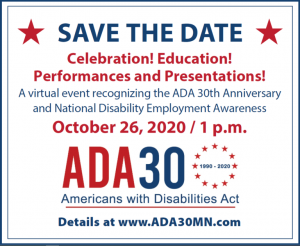 ADA 30 and National Disability Employment Awareness Month flyer. Refer to accompanying text for details.