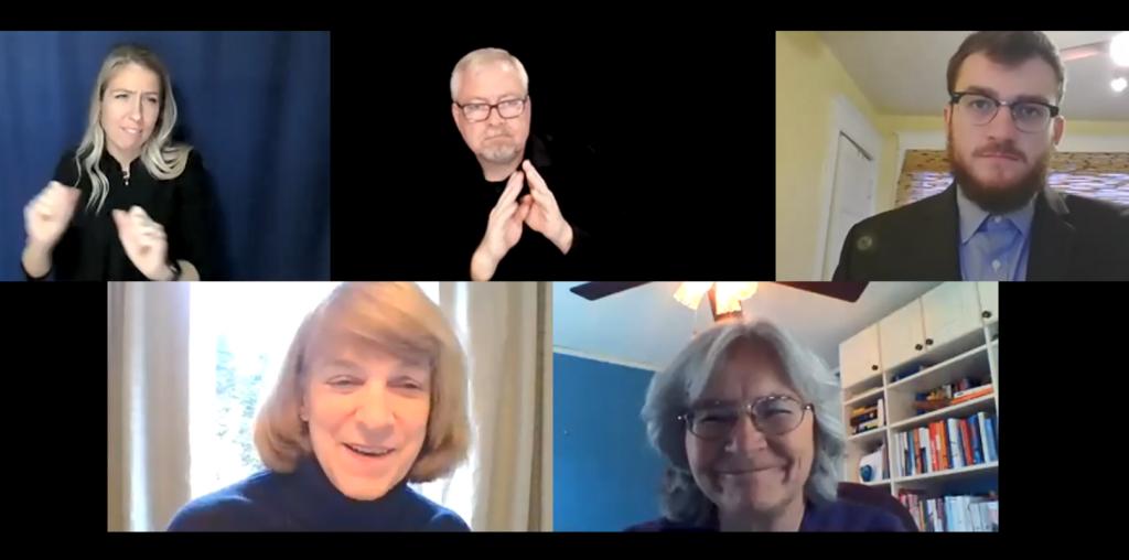 Kody Olson, Commissioner Jodi Harpstead, Commissioner Jan Malcolm, and ASL and CDI interpreters on Zoom