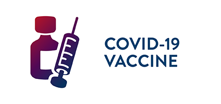 Illustration of a vial of vaccine and a syringe. With text: COVID-19 Vaccine.