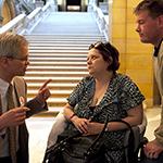 Disability advocates speak with Senator John Marty.