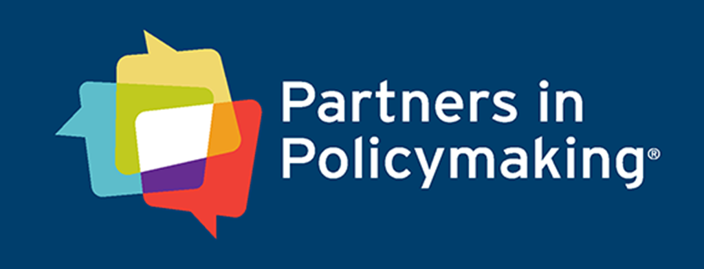 Partners in Policymaking logo. 3 message bubbles show unity. One red, one blue, and one yellow. Just left of the words Partners in Policymaking.