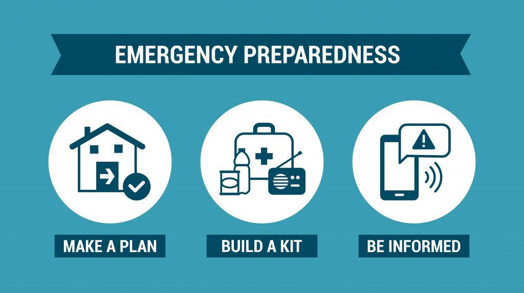 Emergency Preparedness: Make a plan, Build a kit, Be informed.