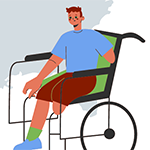 Young man in a wheelchair with amputated arm and leg
